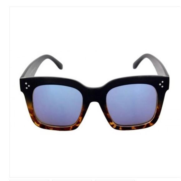 Kiss Other - LARGE SQ Black/Tortoise Frame BLUE mirror leNS NEW